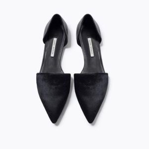 Zara Black Leather Cow Fur D'Orsay Flats 6 36